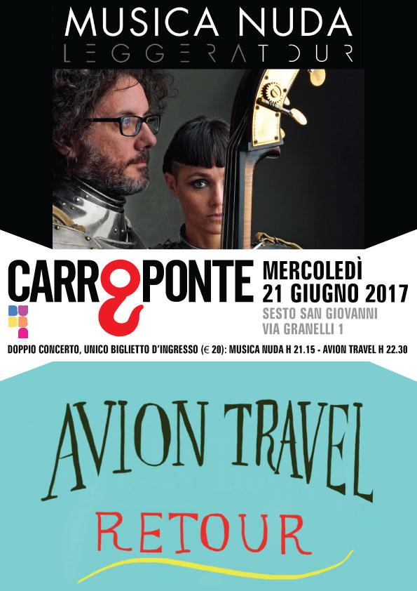 Musica Nuda e Avion Travel doppio concerto mercoledì 21 giugno al Carroponte di Milano